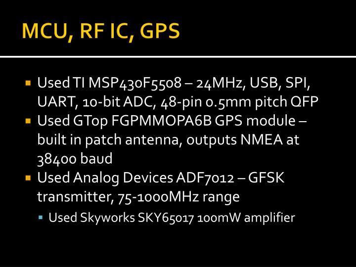 MCU, RF IC, GPS