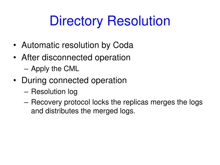 Directory Resolution
