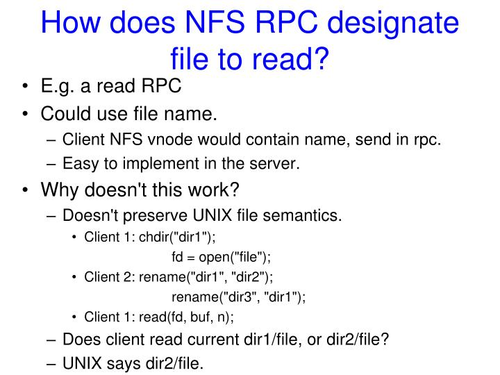 How does NFS RPC designate file to read?