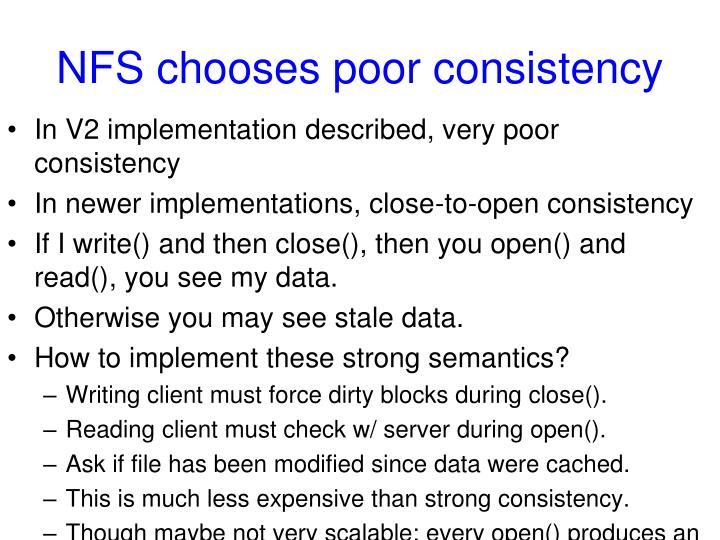 NFS chooses poor consistency