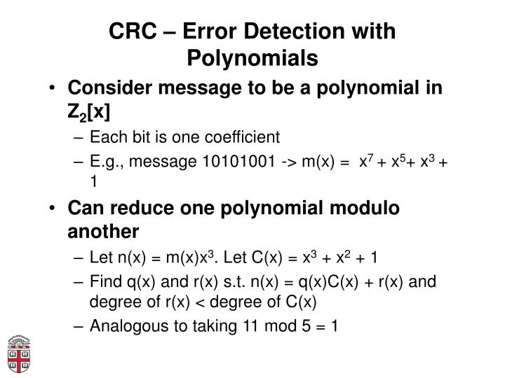 CRC – Error Detection with Polynomials