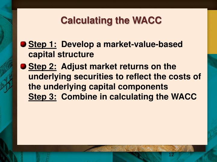 wacc calculations Weighted average cost of capital (wacc) is the weighted average of the costs of all external funding sources for a company wacc plays a key role in our.