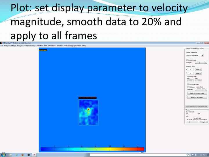Plot: set display parameter to velocity magnitude, smooth data to 20% and apply to all frames