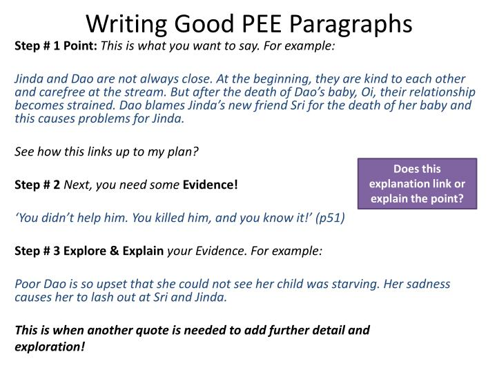 Writing Good PEE Paragraphs