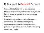 1 re establish outreach services