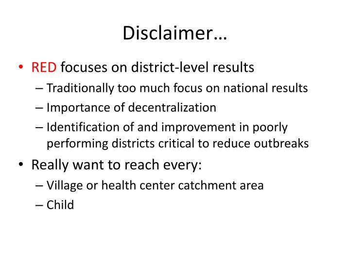 Disclaimer…