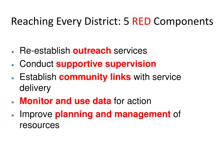 Reaching every district 5 red components