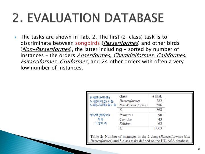 2. EVALUATION DATABASE