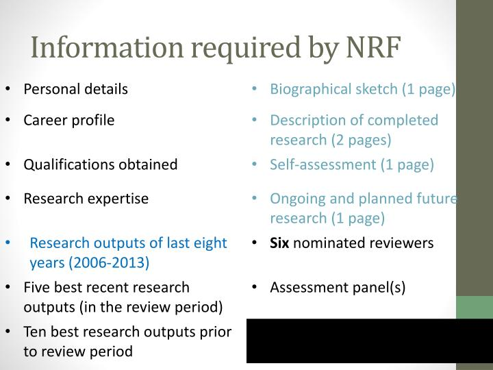 Information required by NRF