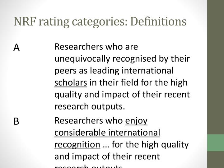 NRF rating categories: Definitions
