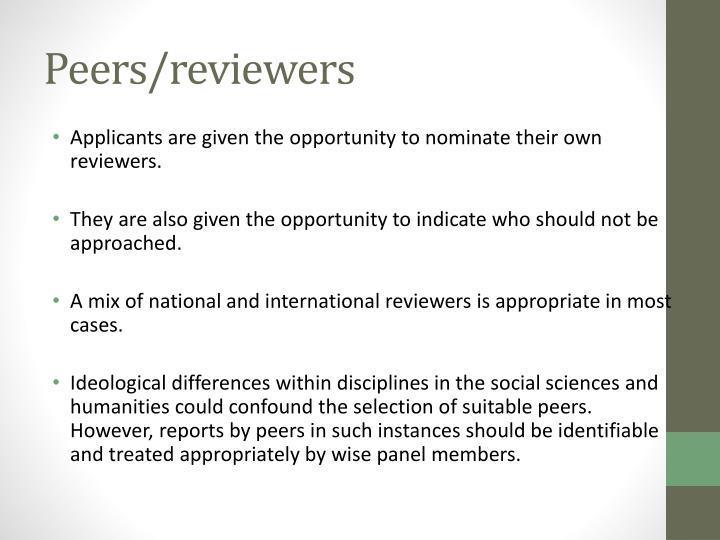 Peers/reviewers