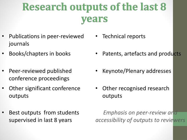 Research outputs of the last 8 years