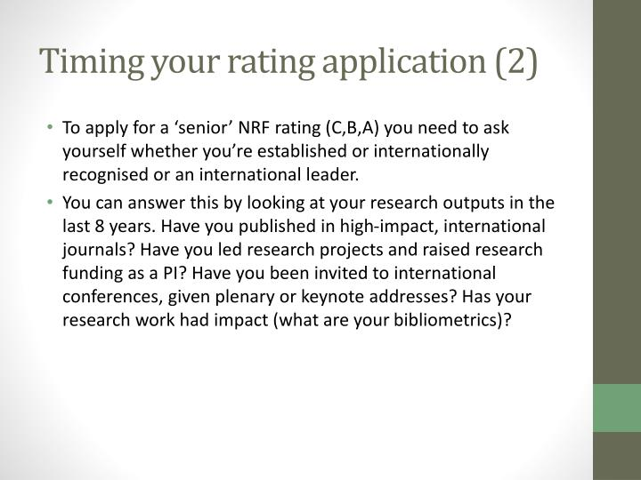Timing your rating application (2)