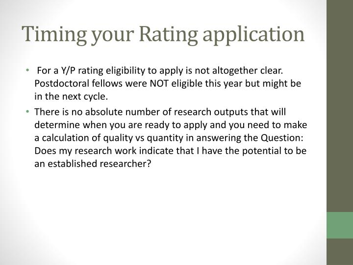 Timing your Rating application