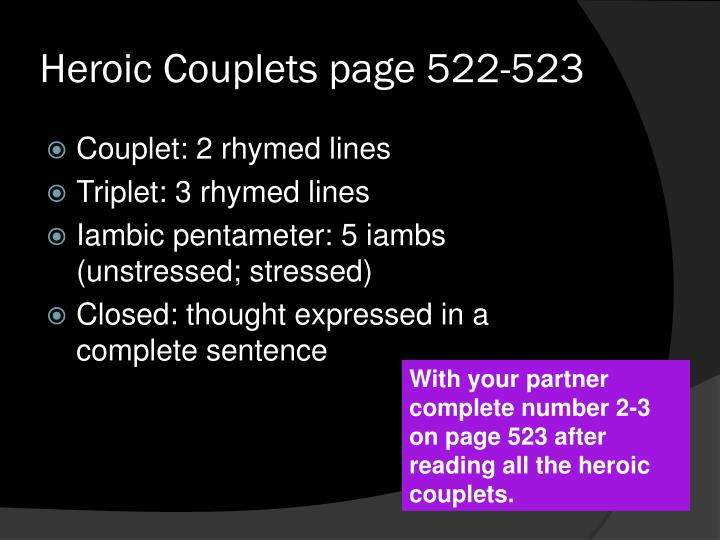 Heroic Couplets page 522-523