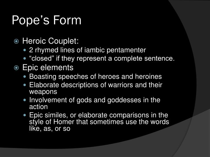 Pope's Form
