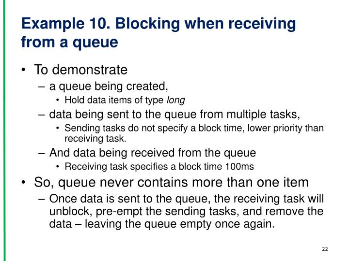 Example 10. Blocking when receiving from a queue