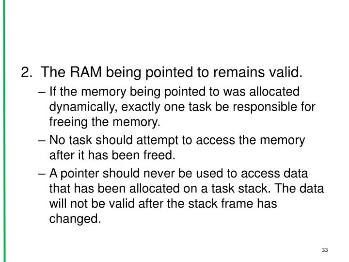 The RAM being pointed to remains valid.