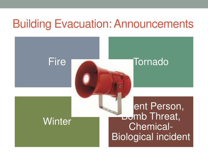 Building Evacuation: Announcements