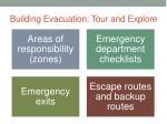 building evacuation tour and explore