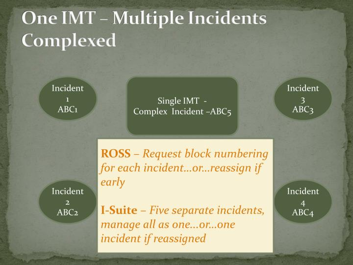 One IMT – Multiple Incidents