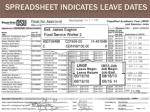 spreadsheet indicates leave dates