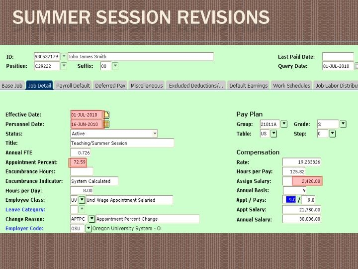 Summer Session revisions