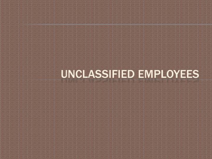UnClassified Employees