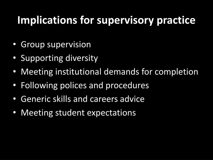 Implications for supervisory practice