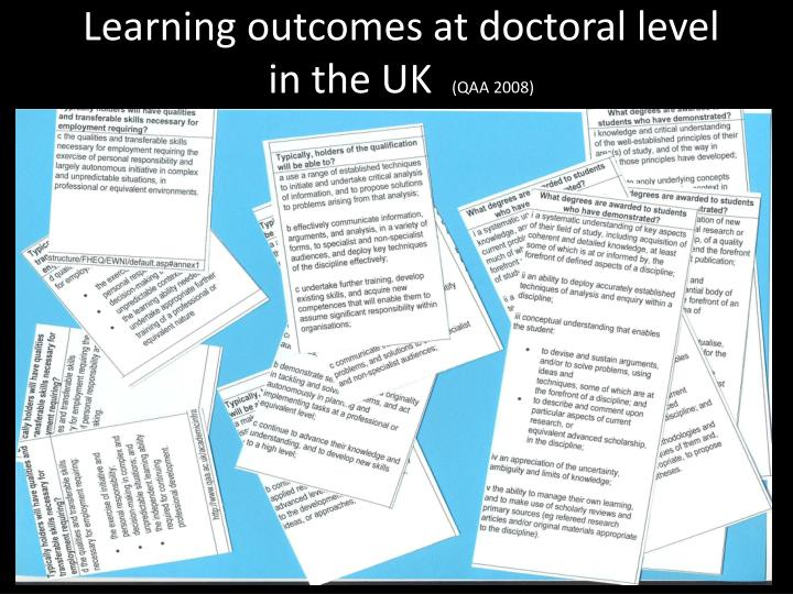 Learning outcomes at doctoral level