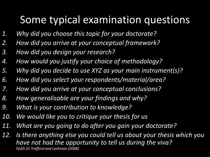 Some typical examination questions