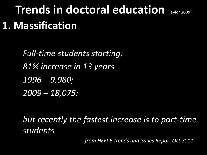 Trends in doctoral education taylor 2009