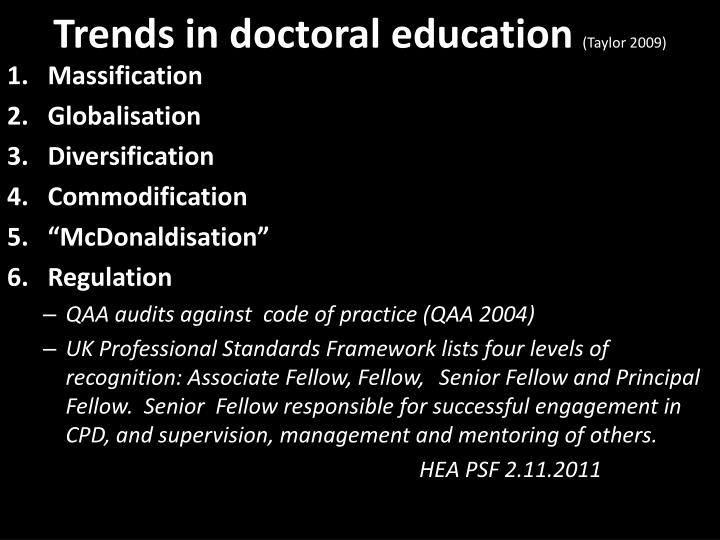 Trends in doctoral education