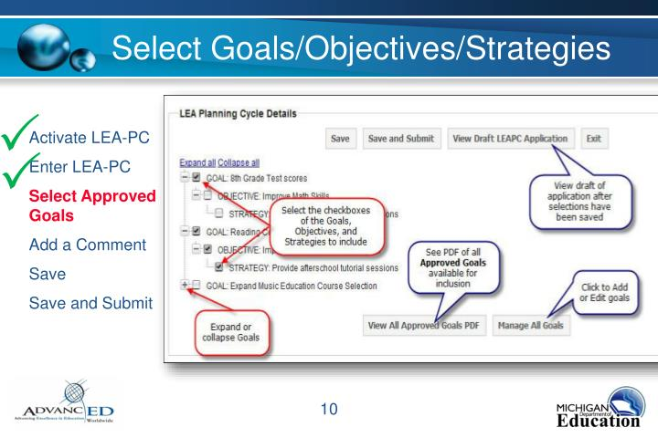 Select Goals/Objectives/Strategies