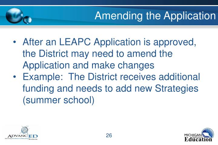 Amending the Application