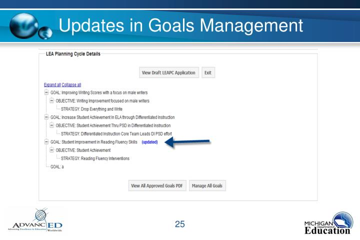 Updates in Goals Management