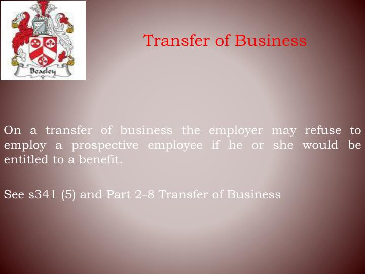 Transfer of Business
