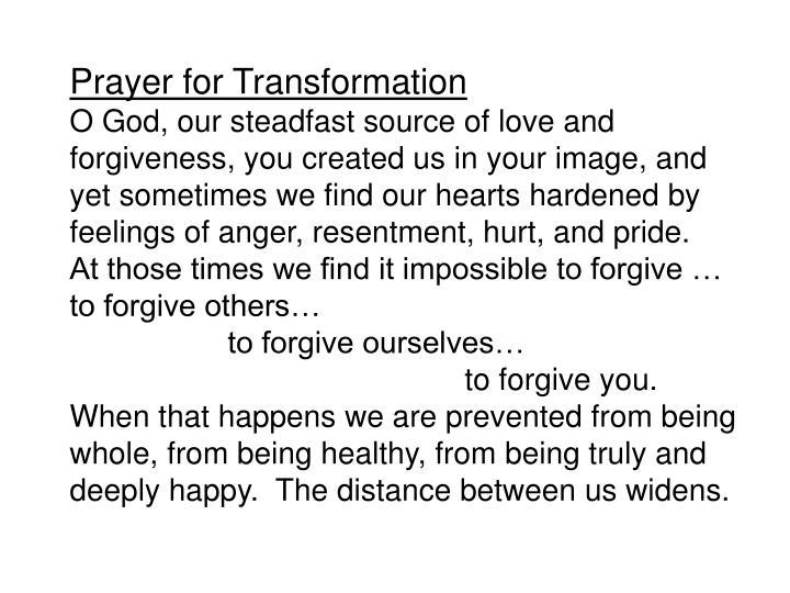 Prayer for Transformation
