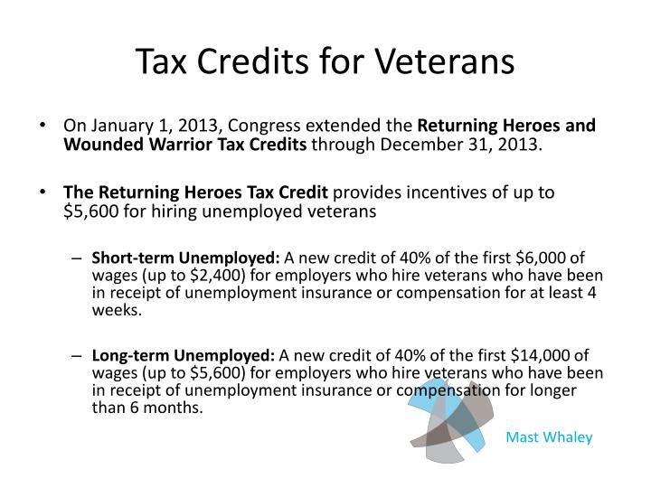 Tax Credits for Veterans