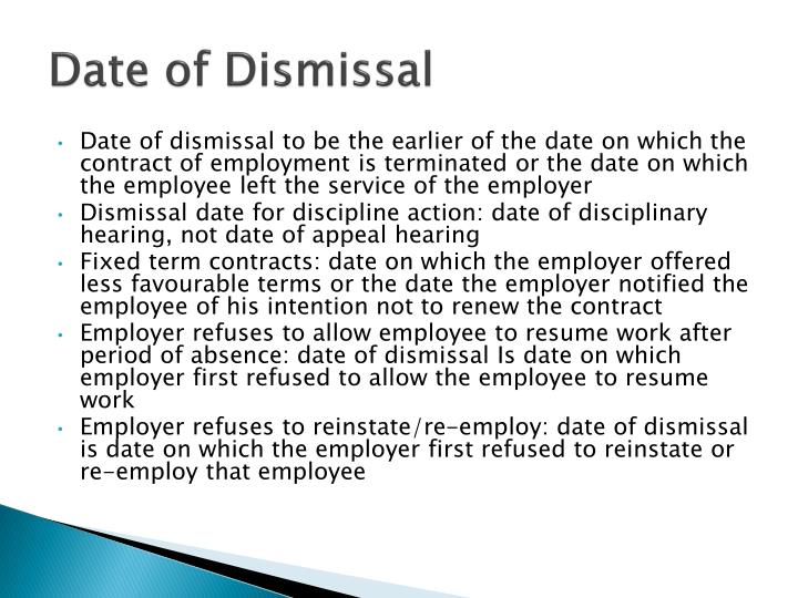 Date of Dismissal