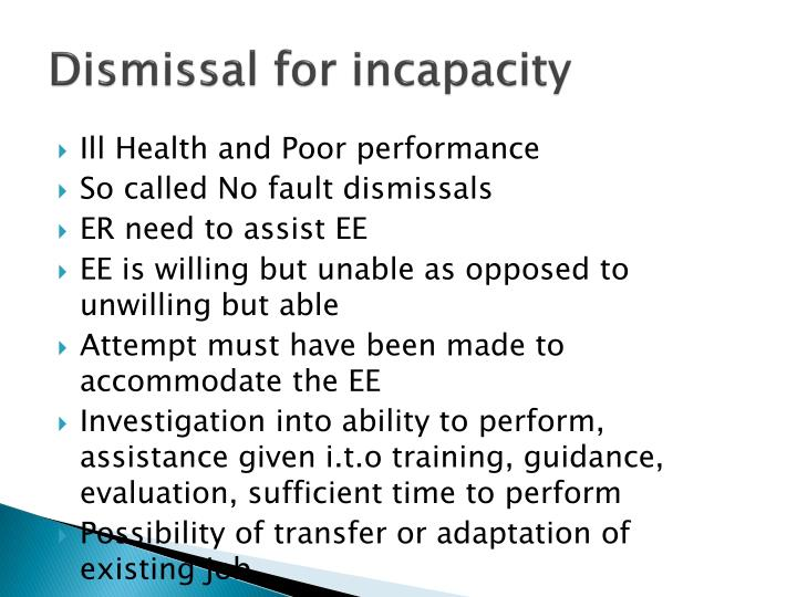Dismissal for incapacity