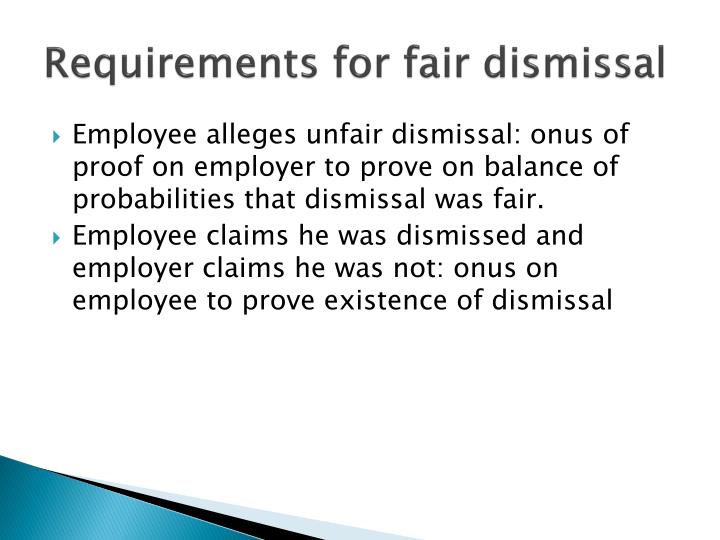 Requirements for fair dismissal