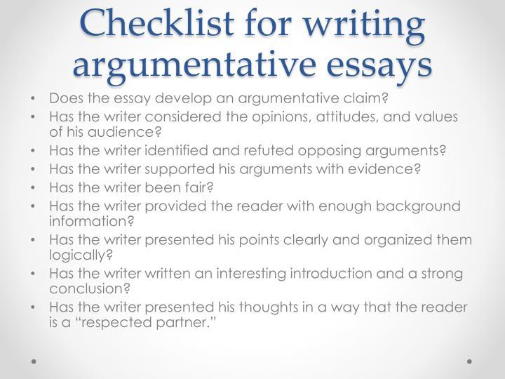 Checklist for writing argumentative essays
