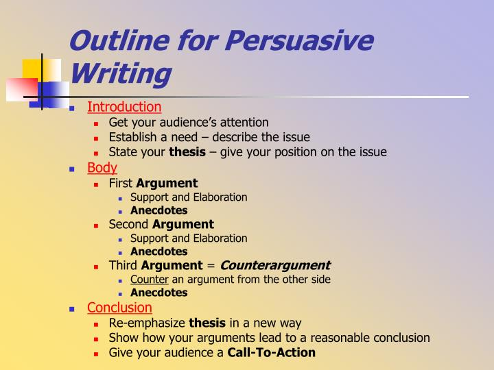 Outline for Persuasive Writing