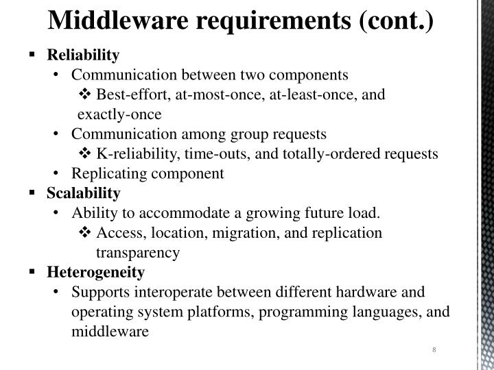 Middleware requirements (cont
