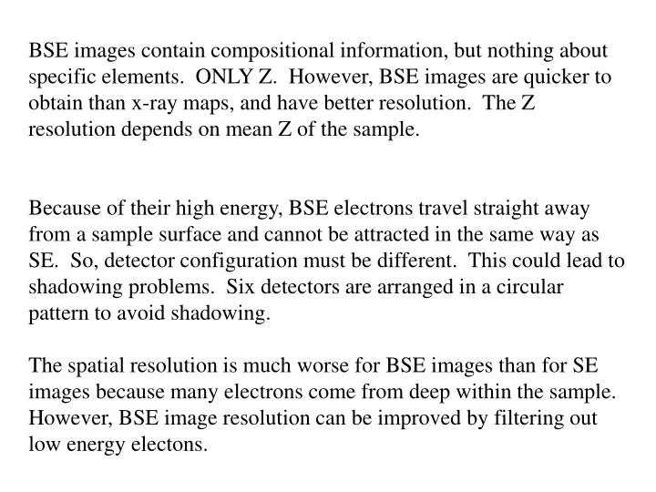BSE images contain compositional information, but nothing about specific elements.  ONLY Z.  However, BSE images are quicker to obtain than x-ray maps, and have better resolution.  The Z resolution depends on mean Z of the sample.