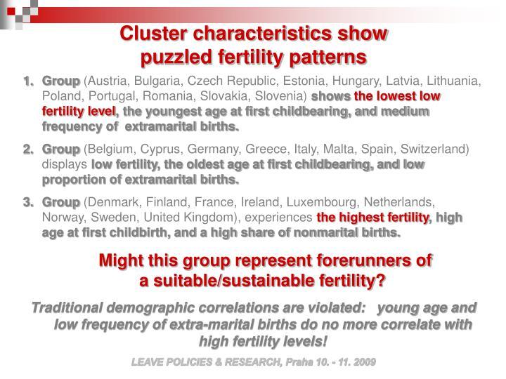 Cluster characteristics show