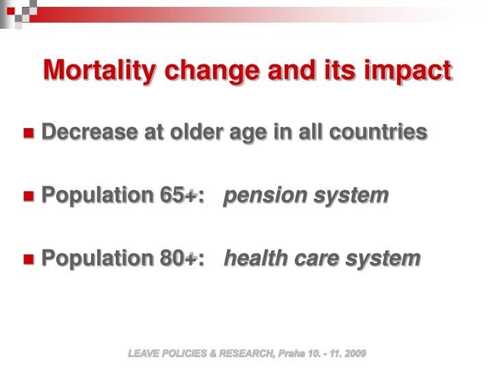 Mortality change and its impact