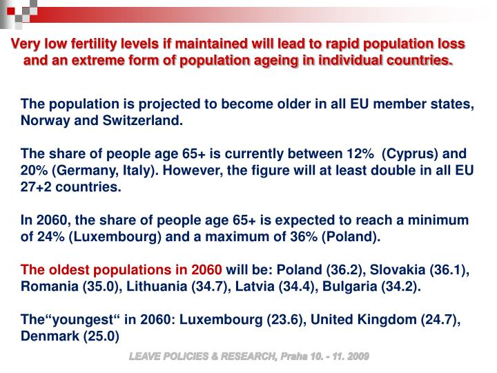 Very low fertility levels if maintained will lead to rapid population loss and an extreme form of population ageing in individual countries.