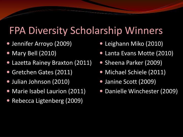 FPA Diversity Scholarship Winners